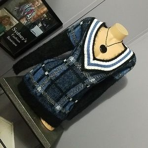 Cozy plush mohair deep V sweater plaid